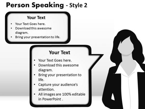 Lady Speaking Callouts PowerPoint Slides And Ppt Diagram Templates