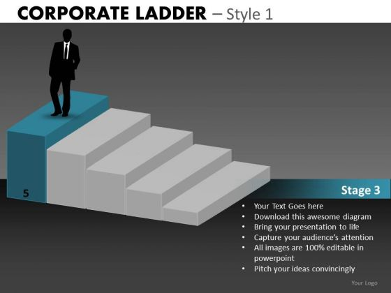 Land A Job Corporate Ladder PowerPoint Ppt Templates