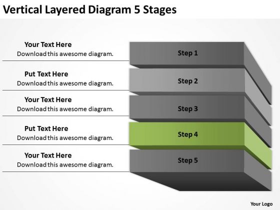 Layered Diagram 5 Stages Ppt Business Plan Template PowerPoint Templates