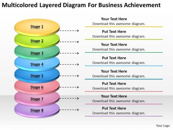 Layered Diagram For Business Achievement Online Plans PowerPoint Slides