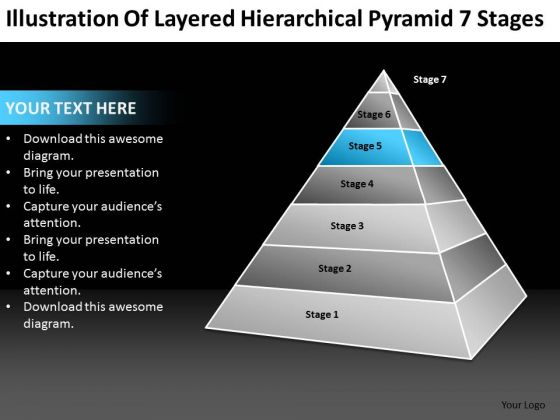 Layered Hierarchical Pyramid 7 Stages Ppt Business Plan Software PowerPoint Templates