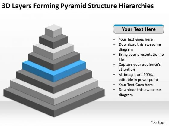 Layers Forming Pyramid Structure Hierarchies Ppt Sample Business Plan Outline PowerPoint Slides