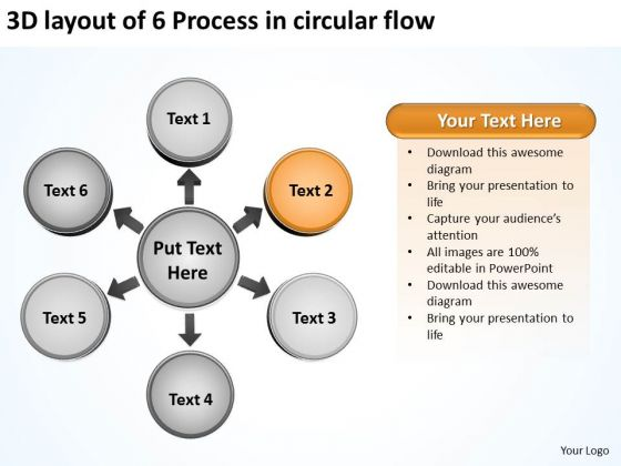 Layout Of 6 Process In Circular Flow Relative Arrow Chart PowerPoint Templates
