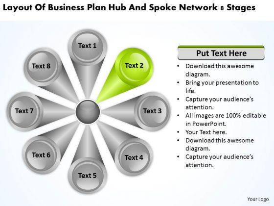 Layout Of Business Plan Hub And Spoke Network 8 Stages Plans PowerPoint Slides