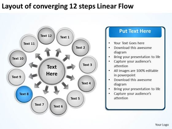 Layout Of Converging 12 Steps Linear Flow Charts And PowerPoint Templates