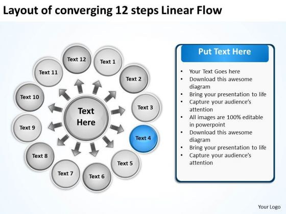 Layout Of Converging 12 Steps Linear Flow Cycle Chart PowerPoint Templates