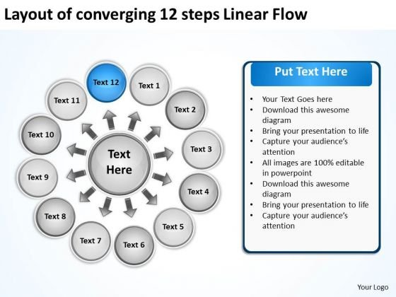 Layout Of Converging 12 Steps Linear Flow Ppt Charts And Diagrams PowerPoint Slides