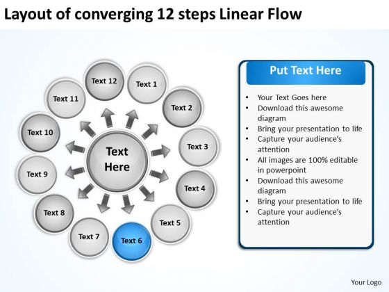 Layout Of Converging 12 Steps Linear Flow Ppt Circular Process Network PowerPoint Templates