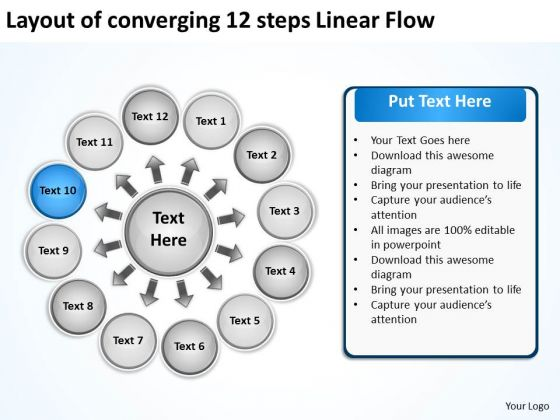 Layout Of Converging 12 Steps Linear Flow Ppt Circular Process PowerPoint Templates