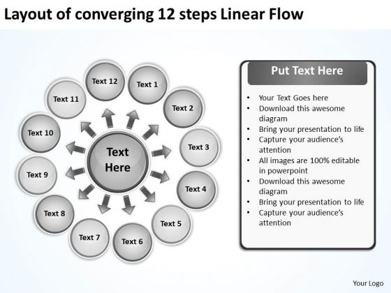 Layout Of Converging 12 Steps Linear Flow Ppt Cycle Diagram PowerPoint Slides