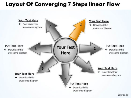 Layout Of Converging 7 Steps Linear Flow Circular Arrow Chart PowerPoint Slides