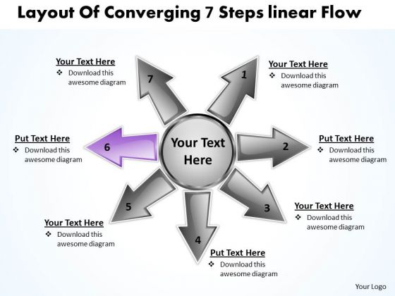 Layout Of Converging 7 Steps Linear Flow Ppt Charts And Networks PowerPoint Templates
