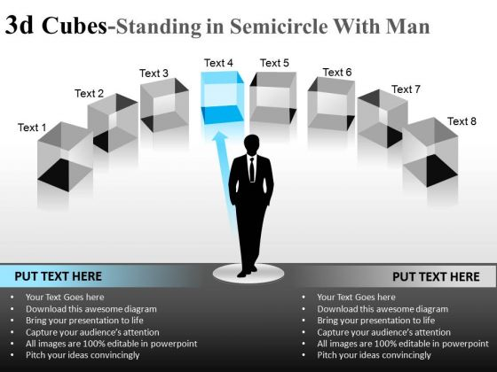 Leadership 3d Cube Standing In Semicircle With Man PowerPoint Slides And Ppt Diagram Templates