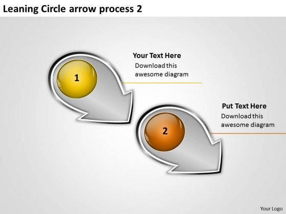 Leaning Circle Arrow Process 2 Flow Chart Slides PowerPoint