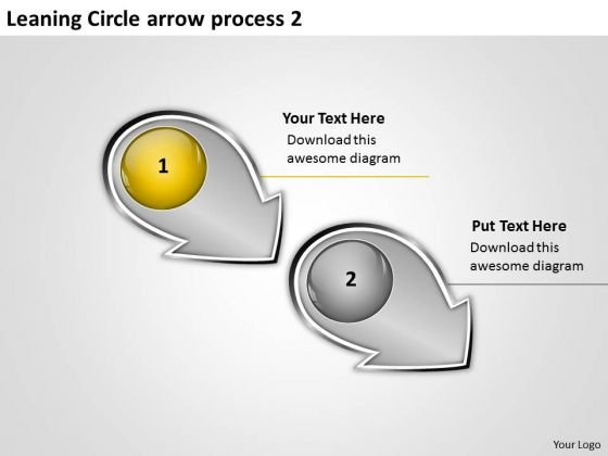 Leaning Circle Arrow Process 2 Ppt Production Flow Chart PowerPoint Slides