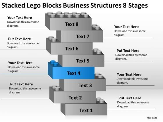 Lego Blocks Business Structures 8 Stages Clothing Store Plan PowerPoint Slides