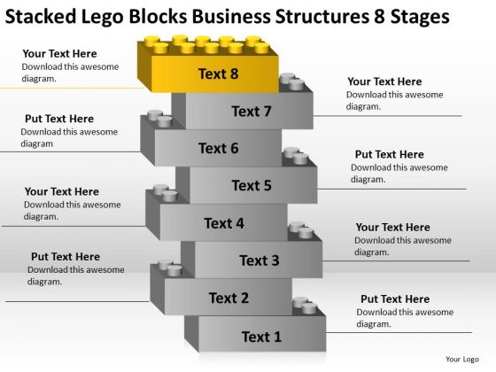 Lego Blocks Business Structures 8 Stages Day Plan Template PowerPoint Slides