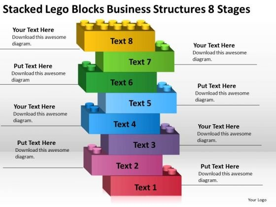Lego Blocks Business Structures 8 Stages Plan Download PowerPoint Templates