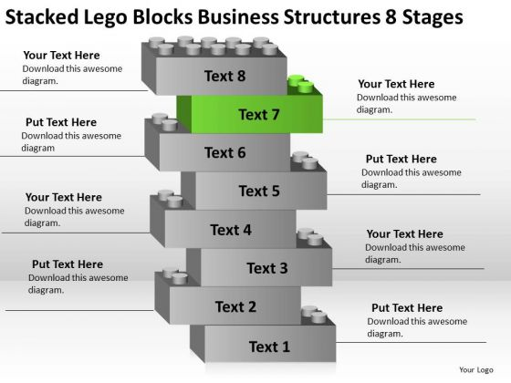 Lego Blocks Business Structures 8 Stages Plan For Bakery PowerPoint Templates