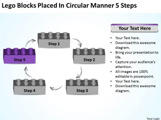 Lego Blocks Placed In Circular Manner 5 Steps Business Plan PowerPoint Slides