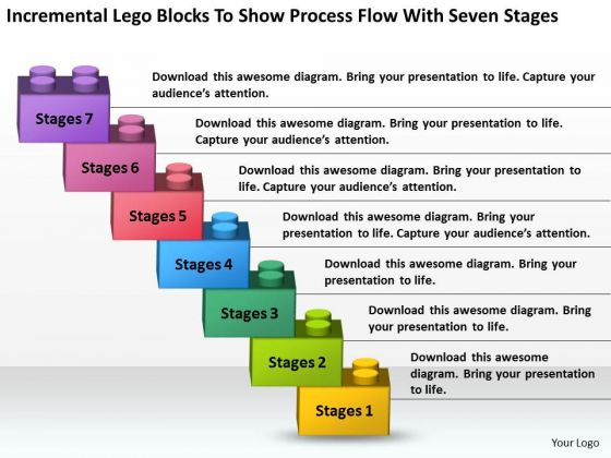 Lego Blocks To Show Process Flow With Seven Stages Ppt Business Plan PowerPoint Slides