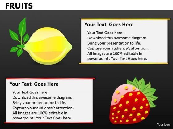 Lemon And Strawberries PowerPoint Templates