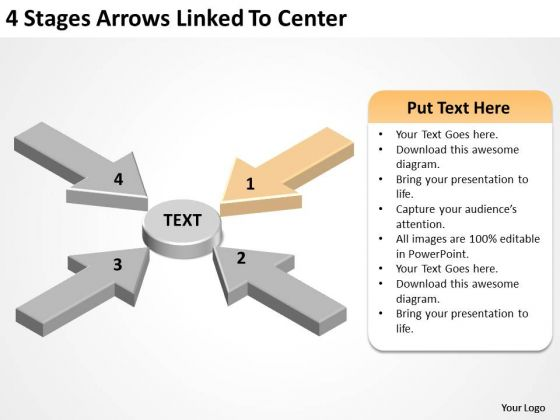 Levels Of Parallel Processing 4 Stages Arrows Linked To Center PowerPoint Slides
