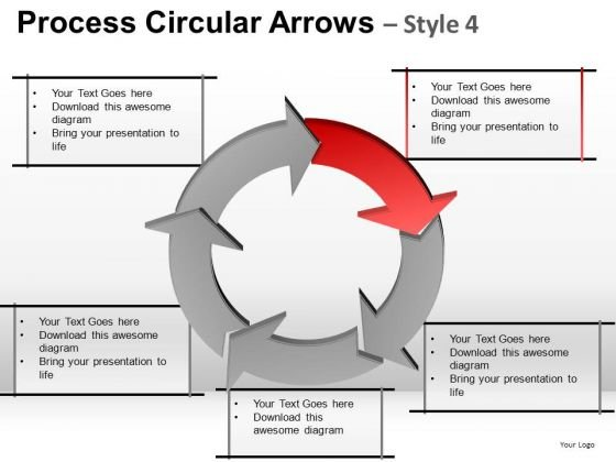Life Cycle Process Circular Arrows PowerPoint Templates