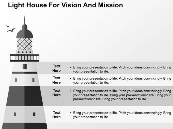 Light House For Vision And Mision PowerPoint Template