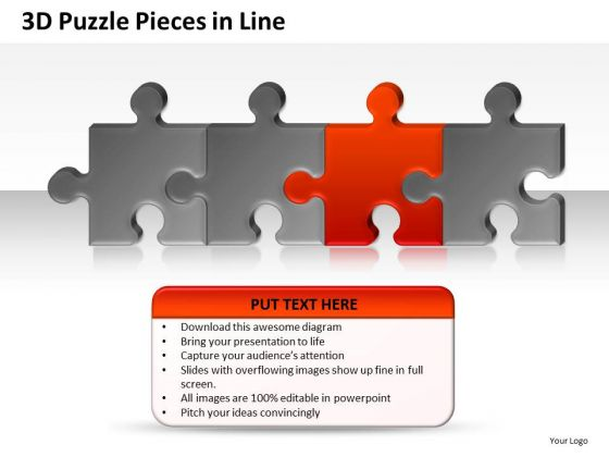 Line Of Puzzle Pieces In Line PowerPoint Slides And Ppt Diagram Templates