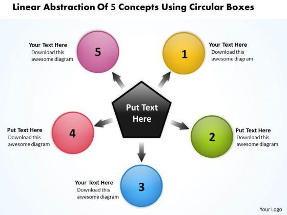 Linear Abstraction Of 5 Concepts Using Circular Boxes Cycle Flow Process PowerPoint Slides