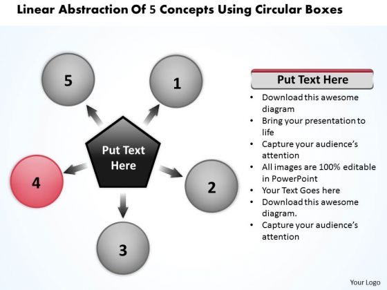 Linear Abstraction Of 5 Concepts Using Circular Boxes Ppt Charts And PowerPoint Slides