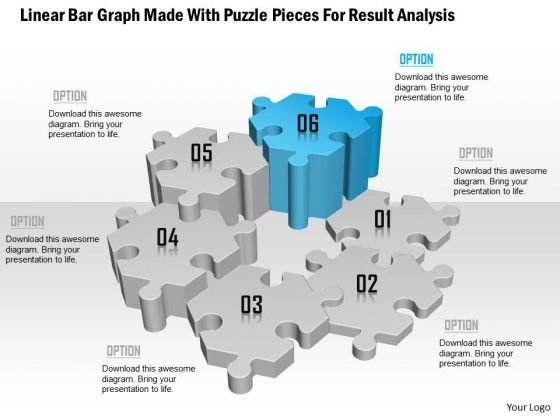 Linear Bar Graph Made With Puzzle Pieces For Result Analysis Presentation Template