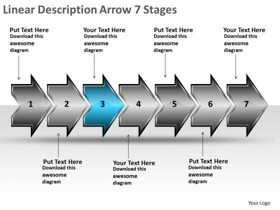 Linear Description Arrow 7 Stages Flow Chart Maker Online PowerPoint Templates