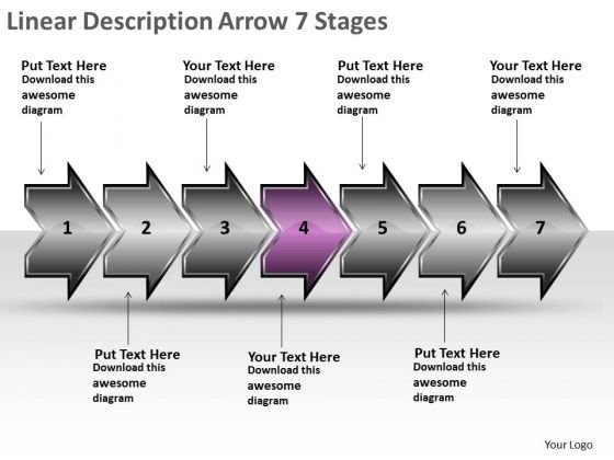Linear Description Arrow 7 Stages Function Flow Chart PowerPoint Templates