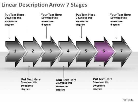 Linear Description Arrow 7 Stages Ppt What Is Flow Chart Used For PowerPoint Slides