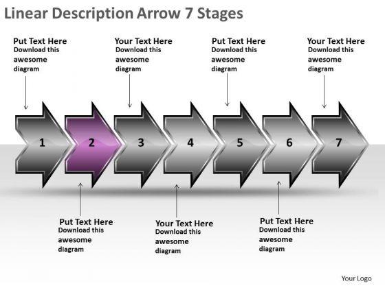 Linear Description Arrow 7 Stages Sample Vision Flowcharts PowerPoint Templates