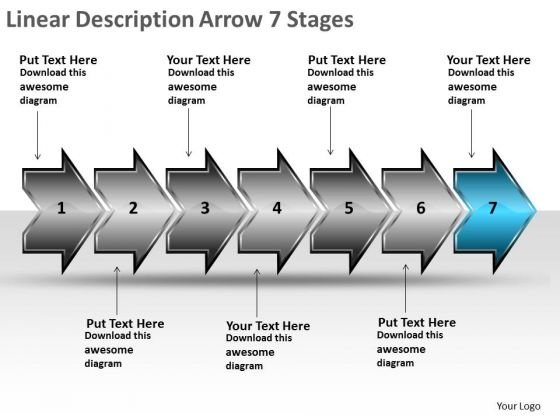 Linear Description Arrow 7 Stages What Is Flow Chart Used For PowerPoint Slides