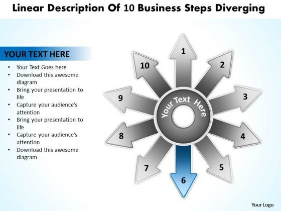 Linear Description Of 10 Business Steps Diverging Circular Motion Process PowerPoint Slides