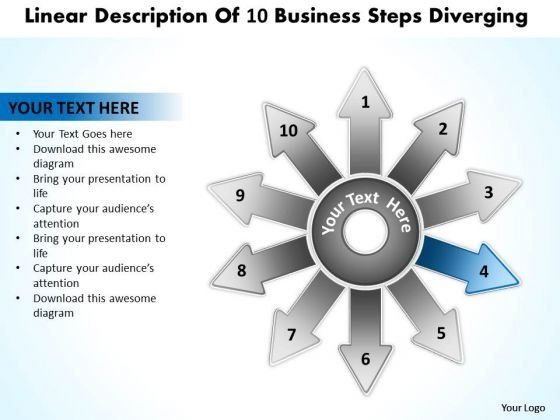 Linear Description Of 10 Business Steps Diverging Radial Process PowerPoint Templates