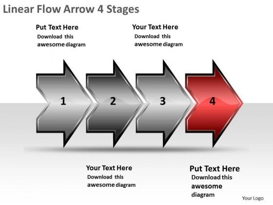Linear Flow Arrow 4 Stages Online Flowchart Maker PowerPoint Slides