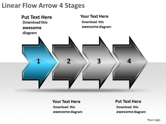 Linear Flow Arrow 4 Stages Product Chart PowerPoint Templates
