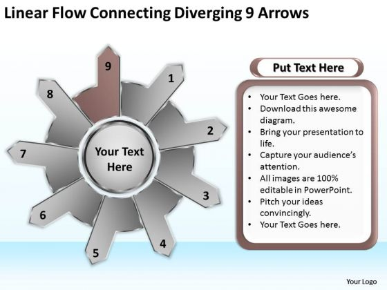 Linear Flow Connecting Diverging 9 Arrows Business Gear Process PowerPoint Templates