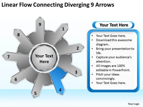 Linear Flow Connecting Diverging 9 Arrows Chart Circular Spoke Network PowerPoint Slides