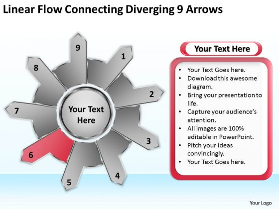 Linear Flow Connecting Diverging 9 Arrows Circular Process Chart PowerPoint Templates