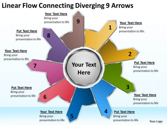 Linear Flow Connecting Diverging 9 Arrows Circular Process Network PowerPoint Slides