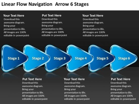 Linear Flow Navigation Arrow 6 Stages Flowchart Symbols PowerPoint Templates