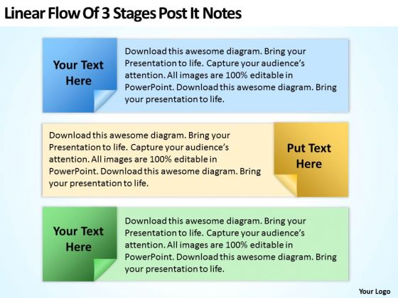 Linear Flow Of 3 Stages Post It Notes Ppt PowerPoint Slides