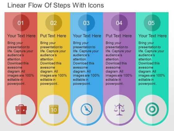 Linear Flow Of Steps With Icons PowerPoint Templates