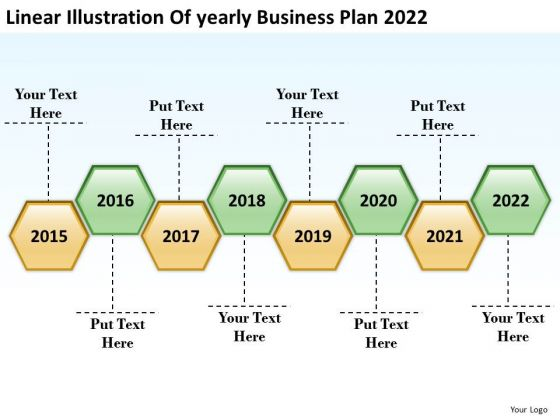 Linear Illustration Of Yearly Business Plan 2022 PowerPoint Templates Ppt Slides Graphics